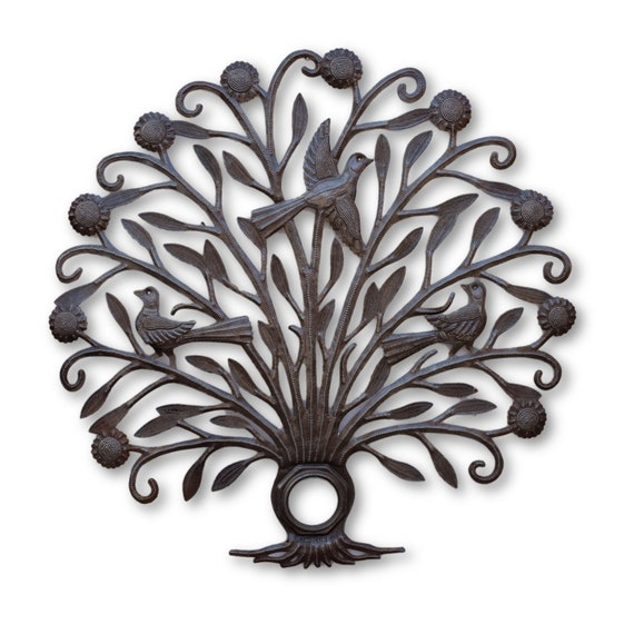 Tree of Life Bird Lid, Unique Haitian Metal Sculpture, One-of-a-Kind 23 x 23.5