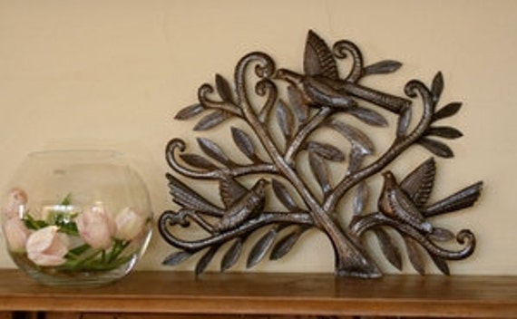 "Tree of Life, Birds with 3-dimentional wings nesting in Tree, Recycled Metal Steel Barrel 19.5"" x 15"""