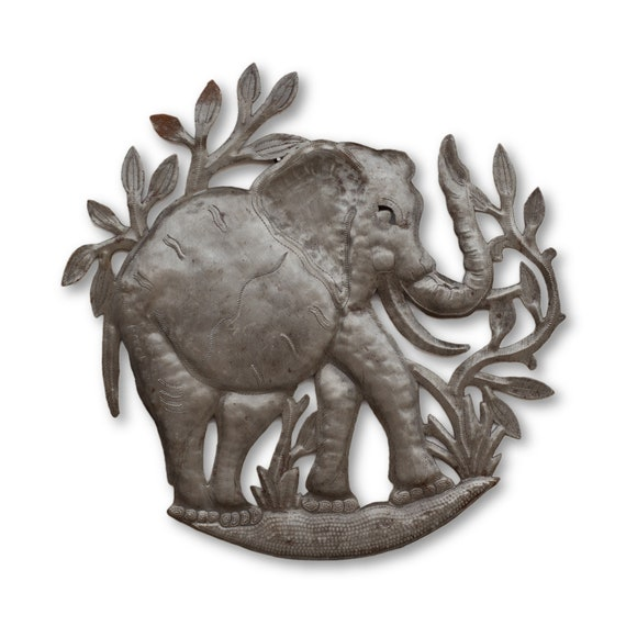 Strolling Elephant, Quality Handcrafted Recycled Metal Art, One-of-a-Kind 15x15