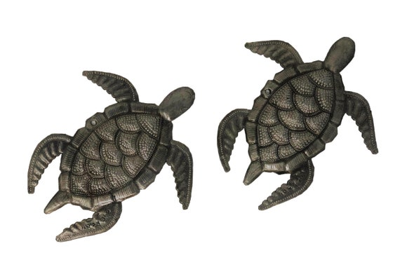 "Turtle, Swimming Left, Decorative Ocean, Beach, Metal Wall Art, Recycled Steel Haiti (set of 2) 6.5"" X 7"""