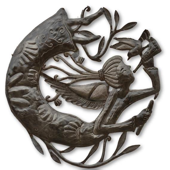 Haitian Angel & Bird, Celestial Wall Art, Limited Edition Haitian Quality Metal Sculpture, 22.5 x 22.5