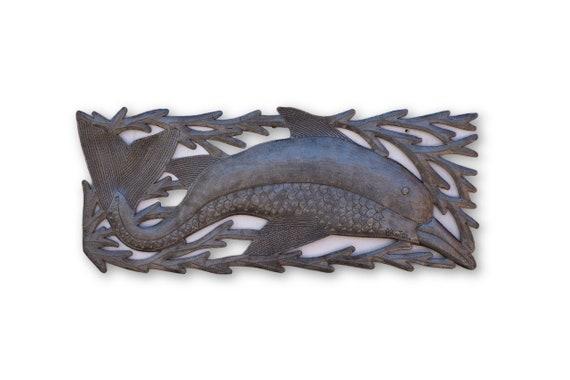 Seaweed Dolphin, Quality Haitian Reclaimed Nautical Art, One-of-a-Kind 7.5x17