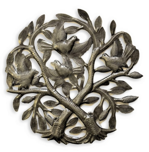 """Artistic Crossing Trees Garden Metal Wall Art Handmade in Haiti From Recycled Drums 15"""" X 15"""""""