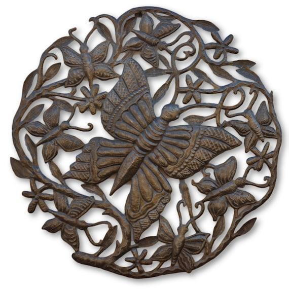 Butterfly Grove, Handmade Haitian Metal Art, One-of-a-Kind 23 x 23
