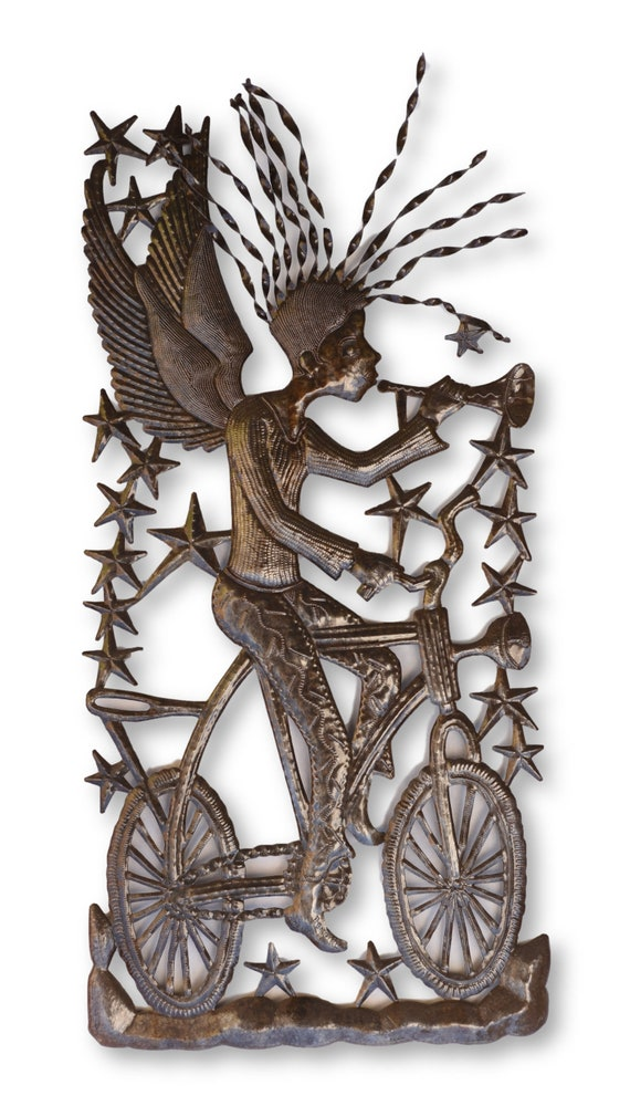 Angelic Bike Messenger Handcrafted in Haiti From Oil Barrels, One-of-a-Kind 17x36