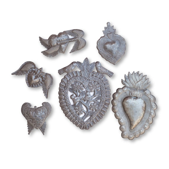 Religious Milagro Hearts Bundle Handcrafted in Haiti From Recycled Metal