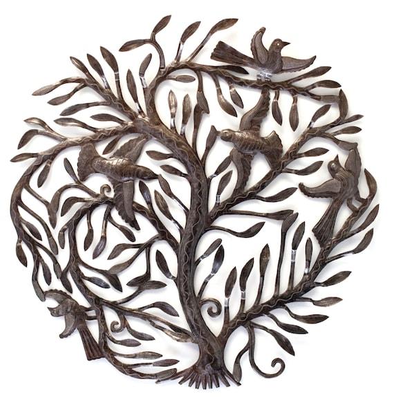 "Large Garden Tree of Life, Metal Wall Art, Metal Birds, Modern Rustic 32"" x 32"""