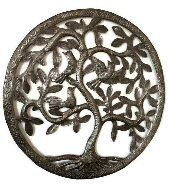 "Small Ornamental Tree of Life, Modern Rustic Farmhouse Home Decor, Haitian,  Recycled Steel Garden Sculpture, Fair Trade, 17"" x 17"""
