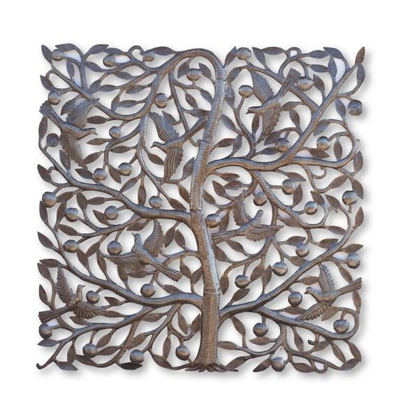 Square Tree of Life, One-of-a-Kind Handcrafted Haitian Metal Sculpture, 34x34