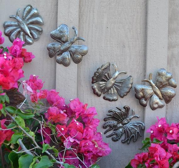 """Garden Butterflies, Haitian Metal Art, Recycled Oil Drums, (set of 5), Novelty Gift, 6"""" x 6"""""""