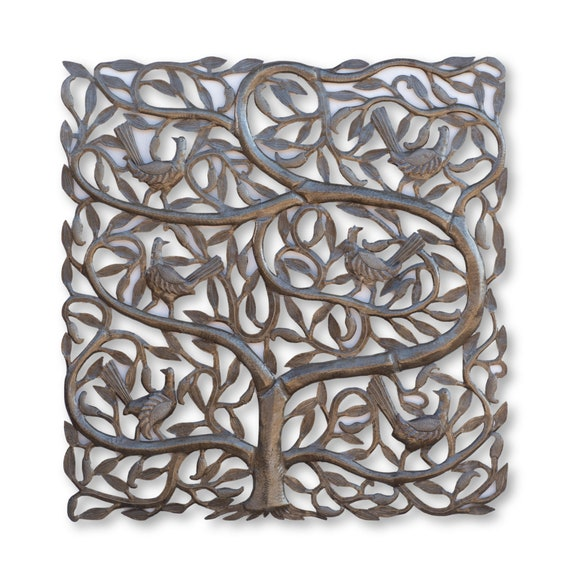Square Tree of Life with Birds, One-of-a-Kind Haitian Recycled Metal Art, 34x33