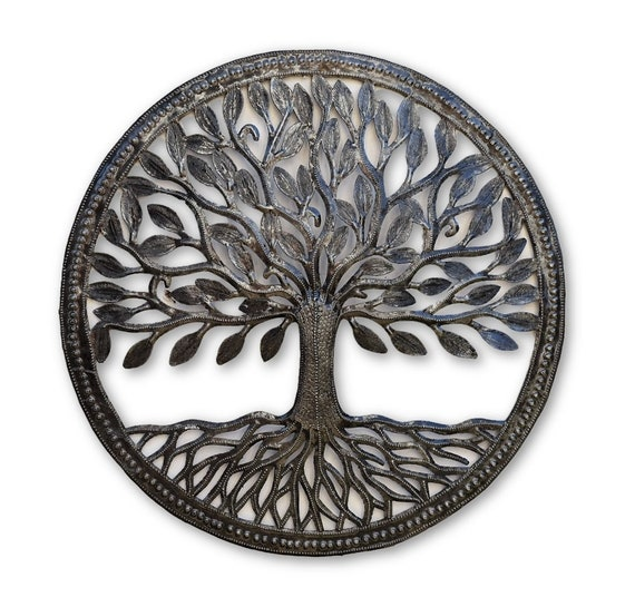 Small Organic Tree of Life  Wall Art, Farm House Rustic Haitian Metal, Hand Hammered Steel, Garden Artwork, Recycled iron Barrel 17.25""
