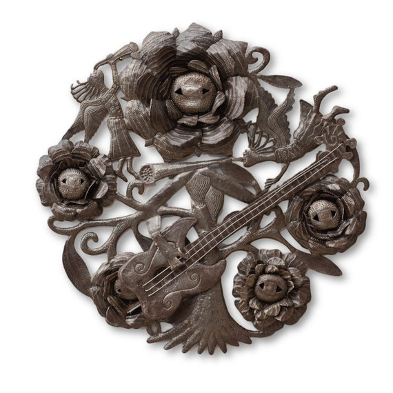 3D Musical Garden, Intricately Made Flower Musicians, One-of-a-Kind 23.5x24