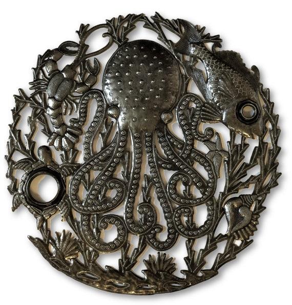 "Octopus Ocean Wall Art, Sea Life, Under The Sea, Haitian Recycled Steel Sculpture, 23"" X 23"""