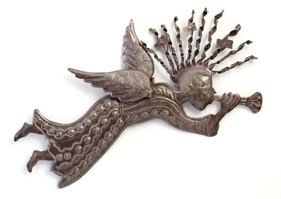 "Metal Angel Wall Art, Festive Holiday Decor, Modern Rustic,  Spiral Hair 3-D wing 22"" X 12"""