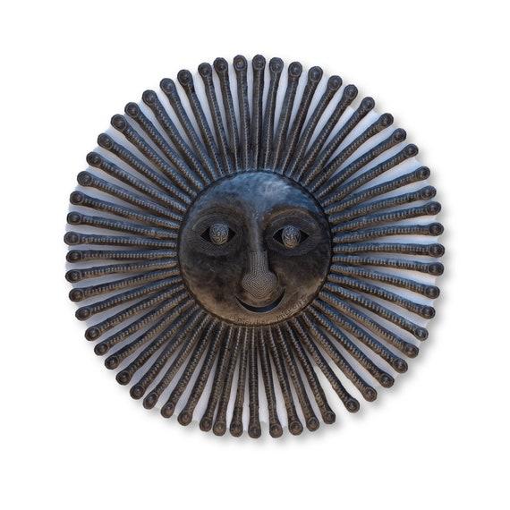 Sunny Haze, Summer Sun Haitian Sculpture, One-of-a-Kind Metal Art 22x22