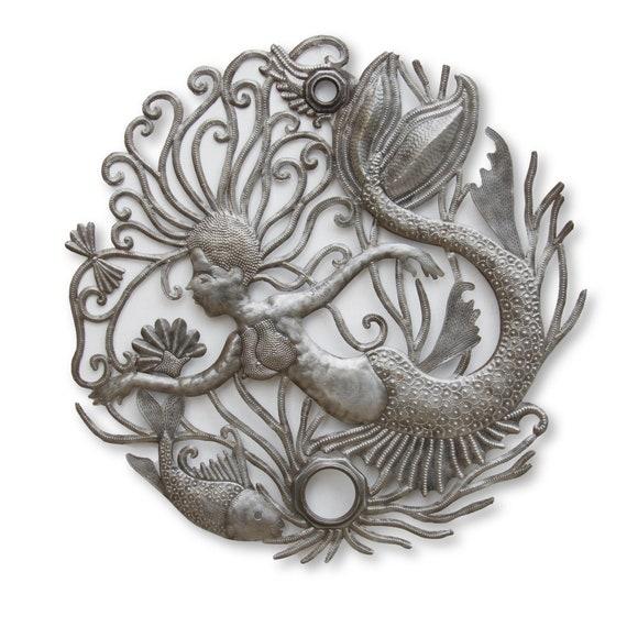 Mermaid Aquarium, Handcrafted Haitian Metal Art, One-of-a-Kind Fair Trade