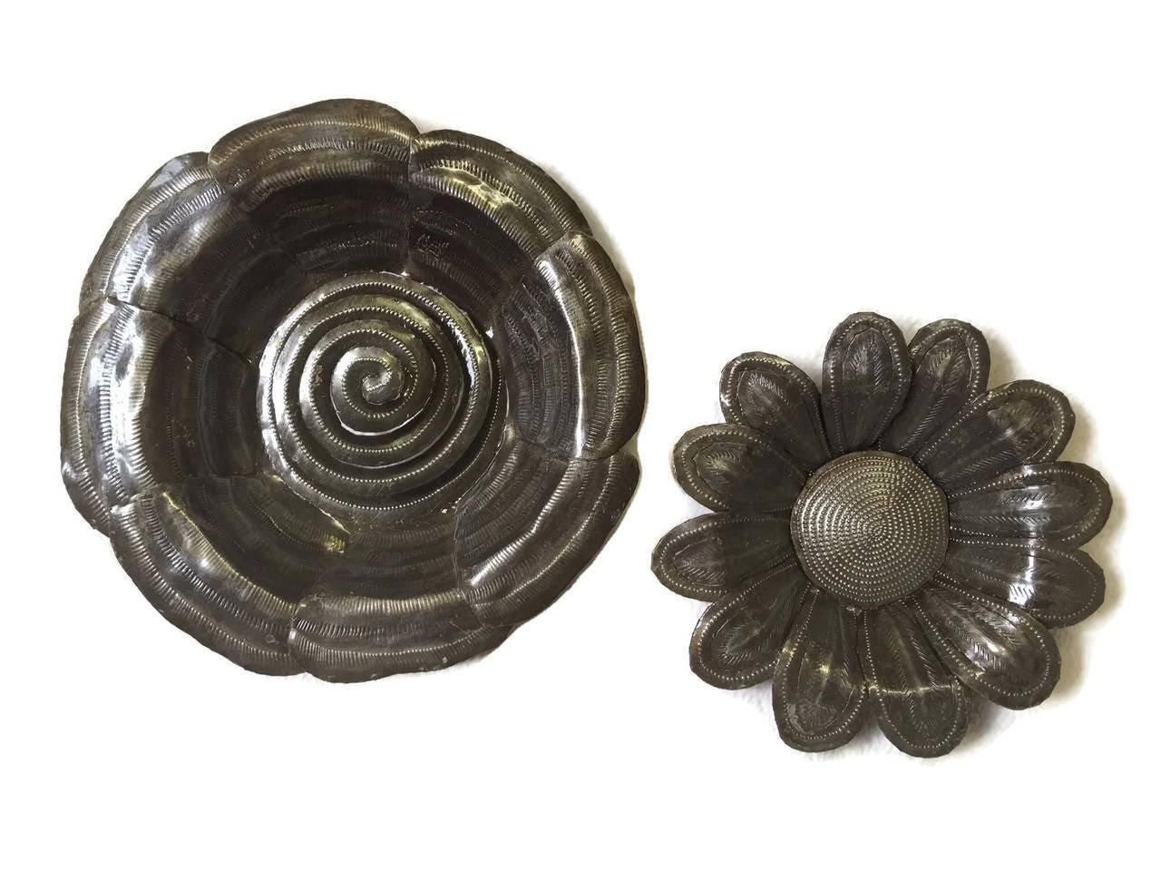Metal Flowers Handmade in Haiti From Recycled Oil Drums, (set of 2), 7