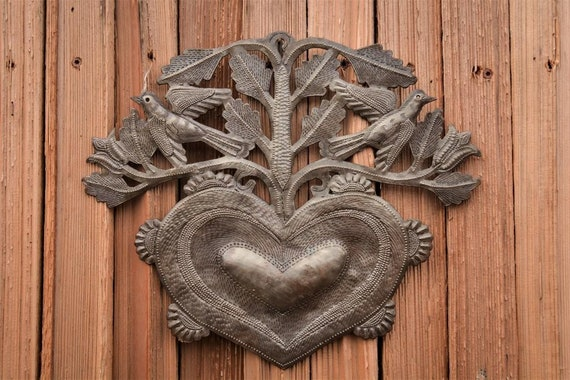 "Hearts and Flowers bouquet, Decorative metal art, Housewarming gift, Handmade in Haiti 12"" x 10"""