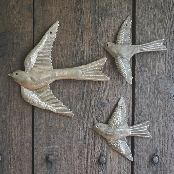 "Metal Birds, Handmade in Haiti, Flight of birds, Eco-friendly gift  (set of 3) Garden Wall Art 11"" x 12"" and 6"" x 5.5"""
