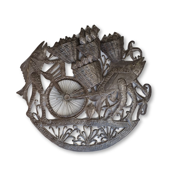 Haitian Home Decor, Fish Wagon Handcrafted Sculpture, One-of-a-Kind Sustainable Art 24x22in.