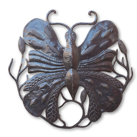 Unique Fluttering Butterfly, Eco-Friendly Metal Sculpture, One-of-a-Kind 23x23