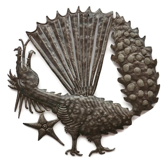Dragon, Unique Metal Wall Art One-of-a-Kind, Handmade in Haiti from Recycled Steel Barrels 23.5x23.5