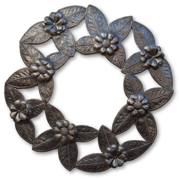 Flower Wreath, Quality Haitian Metal Sculpture, One-of-a-Kind 23.5x23.5
