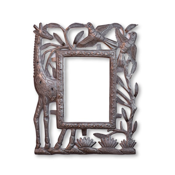 Haitian Metal Frame, Giraffe, Limited Edition Handcrafted Sculpture 11x14in