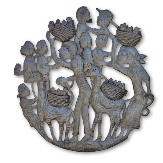 Children Farmers, Quality Handcrafted Haitian Metal Sculpture, One-of-a-Kind 22.5 x 20.5
