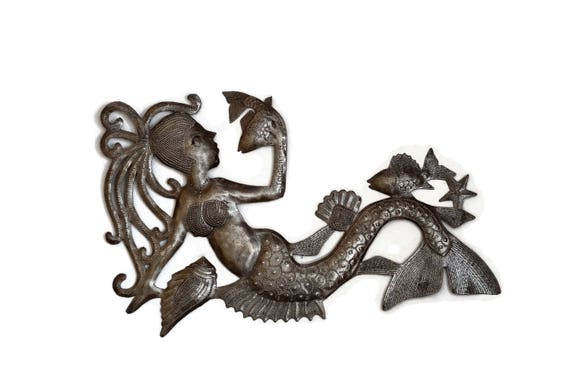 """Talking with Fish, Haiti Metal Steel Drum Art 17"""" x 10"""""""