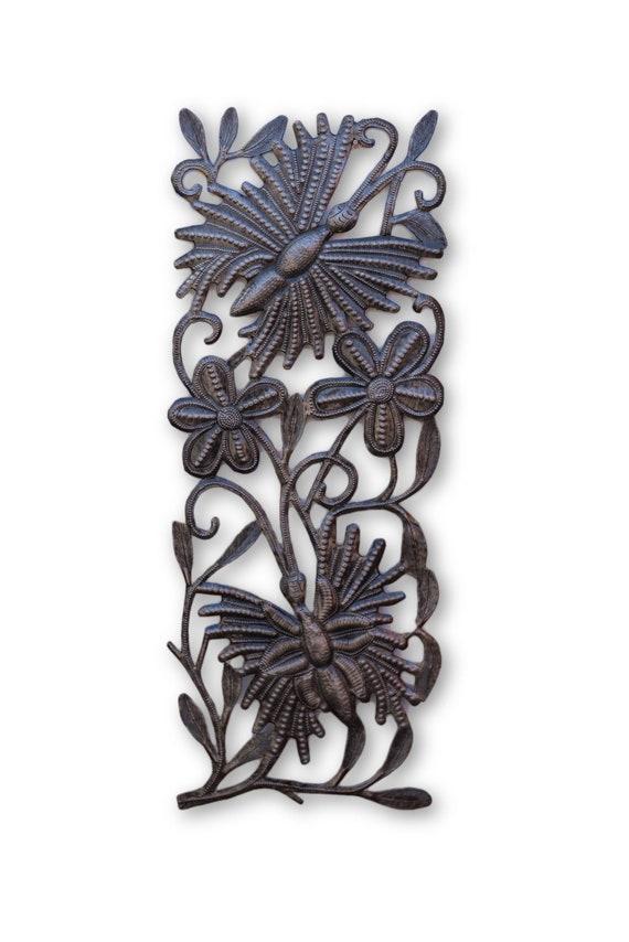 Flowery Butterflies, Beautifully Handcrafted Garden Sculpture, One-of-a-Kind 17.5x7
