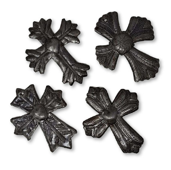 "Worry Cross, Take Your Worry Away, Set of 4 Small Metal Milagro Crosses, Gift, Small Ornamental, Handmade in Haiti, Sacred 3 1/2"" X 4 1/2"""
