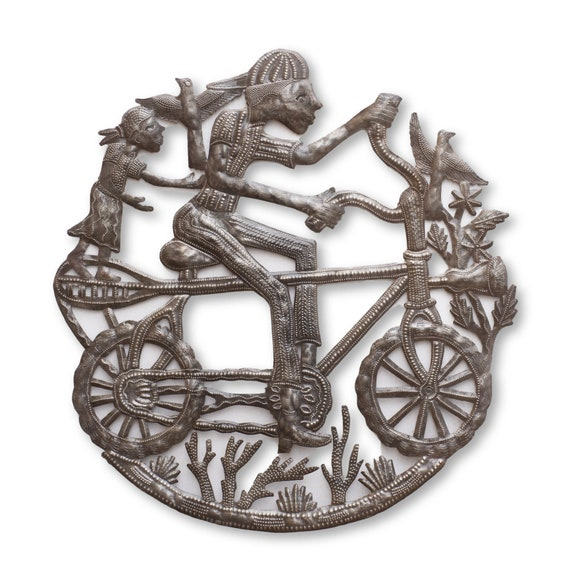 Decorative Children Metal Wall Hanging Artwork, Bicycle, Bike, Outdoor, One-of-a-Kind Handcrafted Haitian Metal Art, 24x22