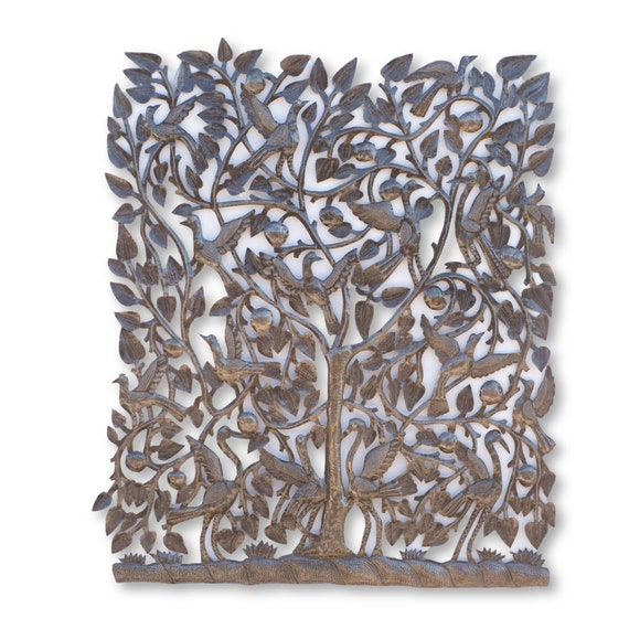 Haitian Metal Sculpture, Fruit Tree of Life by Michee Remy, Fair Trade Sculpture 30x35in.