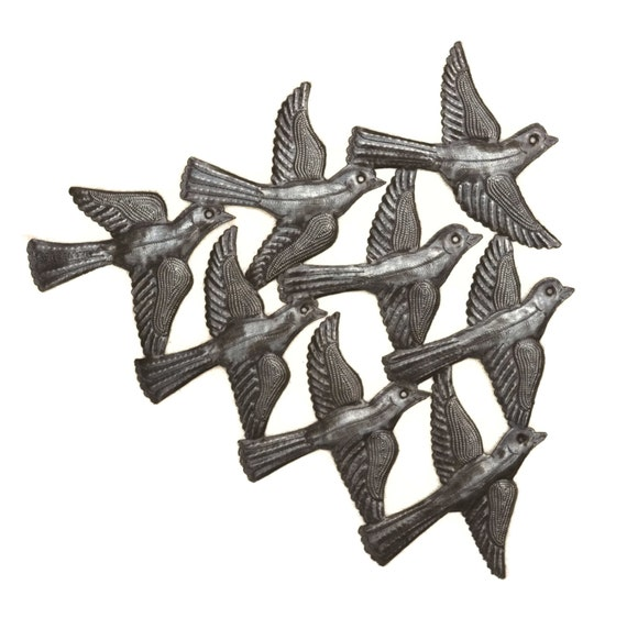 "Flock of Birds Wall Art, Haiti Metal Art, Recycled Steel, Handmade, Novelty Gift 15.5"" X 12.5"""