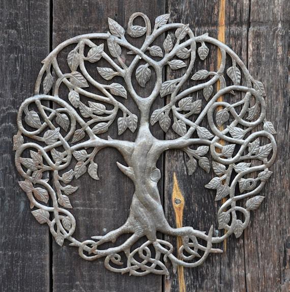 "Celtic Tree of Life, Garden Metal Wall Art, Quality Craftsmanship from Haiti, Handmade, 23"" X 23"""