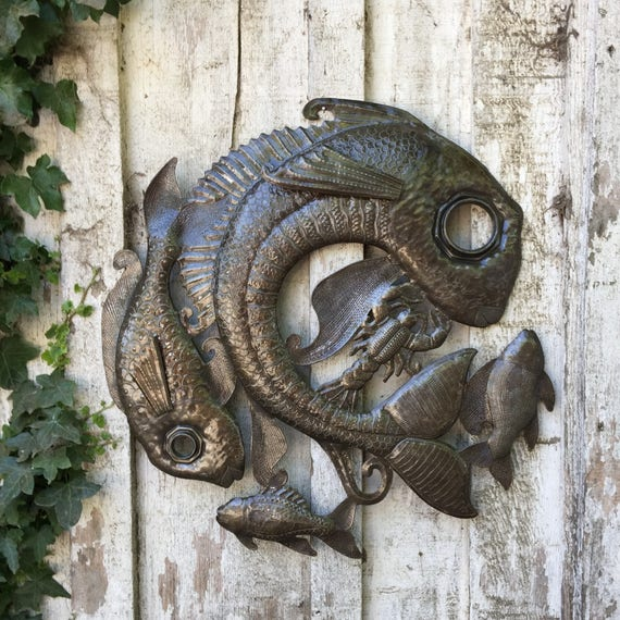 "Fish Lid - Haitian Metal Wall Hanging Decor, Steel Drum Art 23"" x 23"""