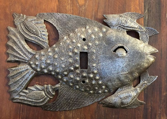 "Lighting, Recycled Metal Switch Plate Cover in Fish Design From Haiti 9"" x 6"""