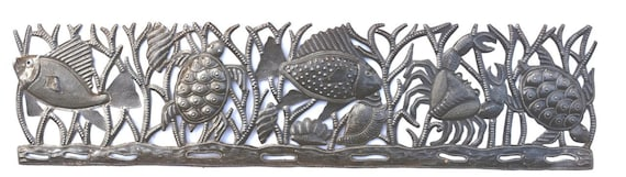 "Haitian Metal Art, Sea Turtle, Fish and Crab, Ocean wall hanging home decor 8"" x 32.5"