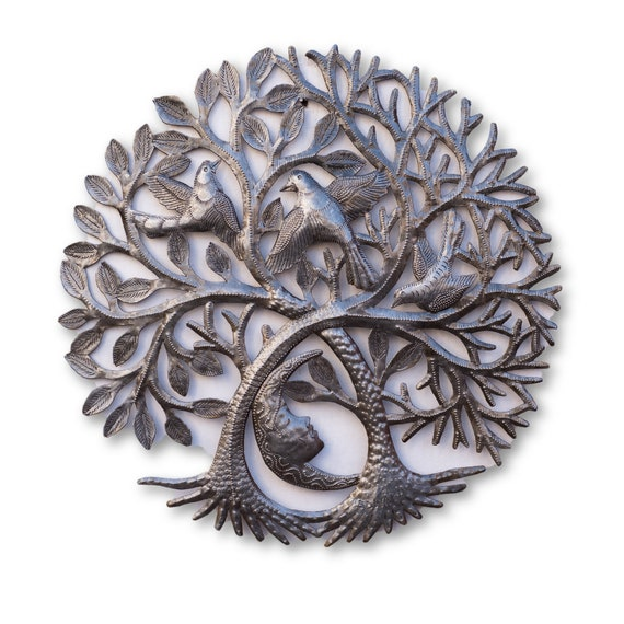 Tree of Life with Sleeping Moon, Quality Haitian Metal Art, One-of-a-Kind 17.5x17.5