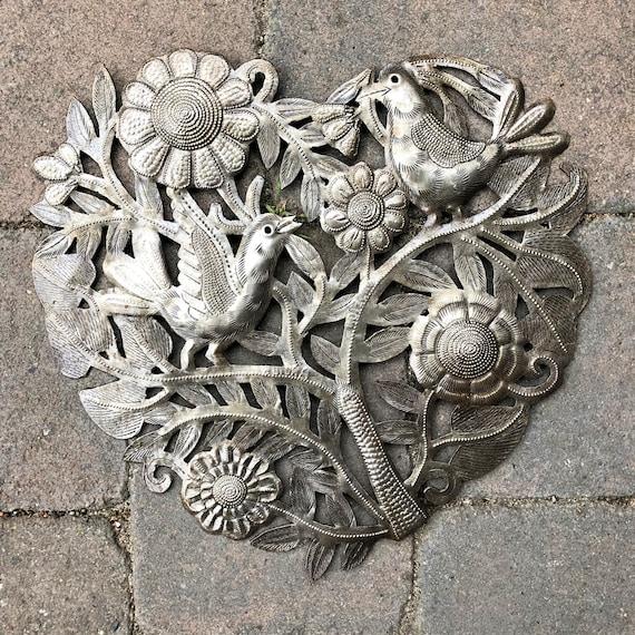 "Hearts of hearts, Artistic metal sculpture, Novelty Gift, Wall Decor, Handmade in Haiti 11"""