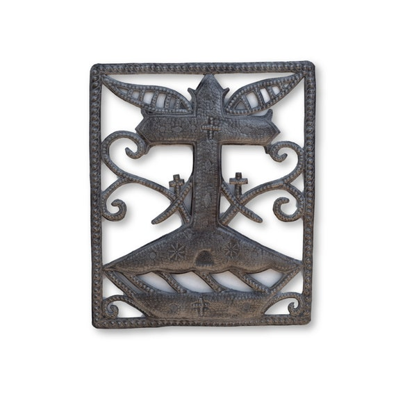 Cross Voodoo Veve Handcrafted in Haiti from Recycled Metal, One-of-a-Kind 17x20.5