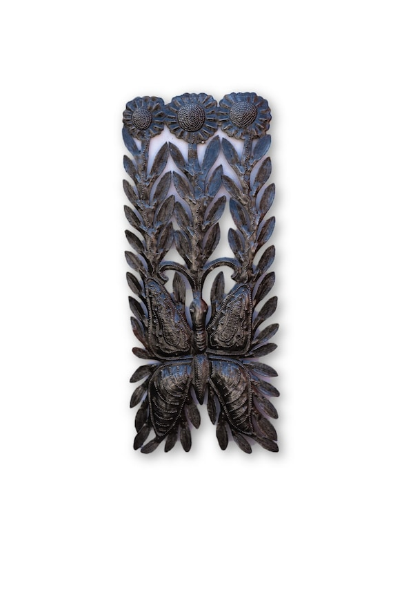 Long Flowers & Butterfly, Quality Haitian Metal Decor, Limited Edition 17x7