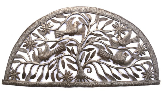 "Tree of Life Arch, Haiti Metal Art, Fair Trade, Recycled Wall Art, Steel wall Sculpture, 34"" x 17"""