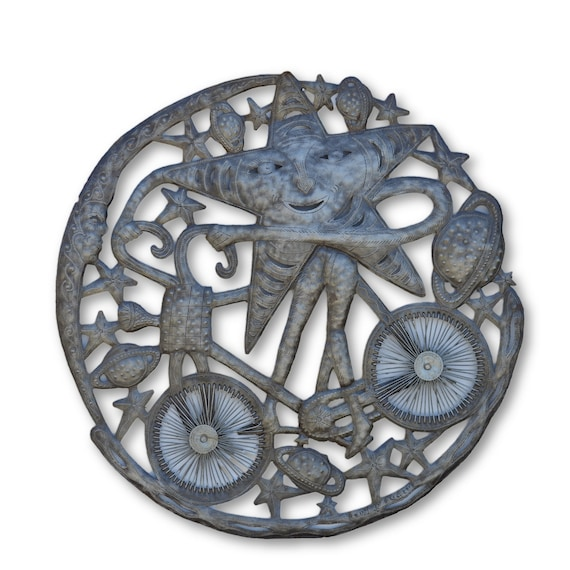 Cycling Bike, Quality Handcrafted Haitian Metal Sculpture, One-of-a-Kind 23.5 x 23