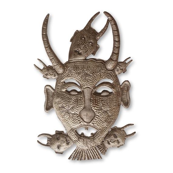 Voodoo Demon, Unique Wall Hanging Decorative Artwork, Limited Edition Haitian Metal Sculpture, Eco-Friendly Art, 24x14