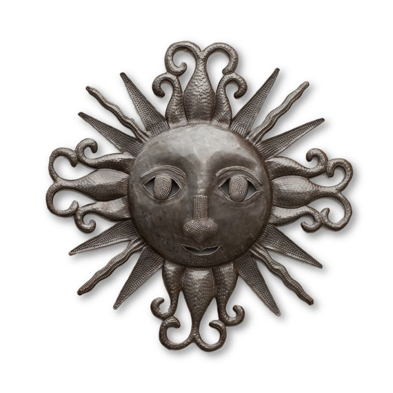 Warm Morning Sun Made in Haiti, Limited Edition Reclaimed Metal Sculpture, 17 x 17 1/4