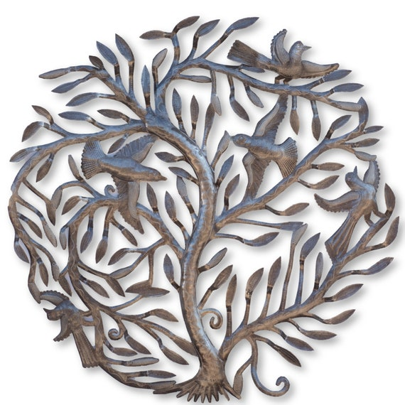 Leafy Tree of life with Birds, Limited Edition Haitian Metal Sculpture, 33x33