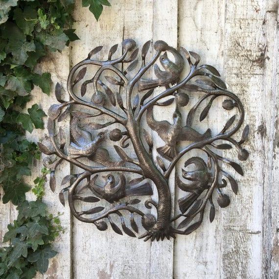 """Steel Drum Tree of Life Metal Wall Art , Indoor and outdoor home decor, 23""""x 23"""""""